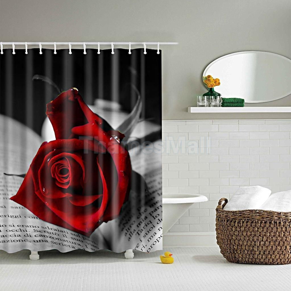 1pcs Vintage Shower Curtain Bathroom Waterproof Liner W 12 Hooks Red Rose