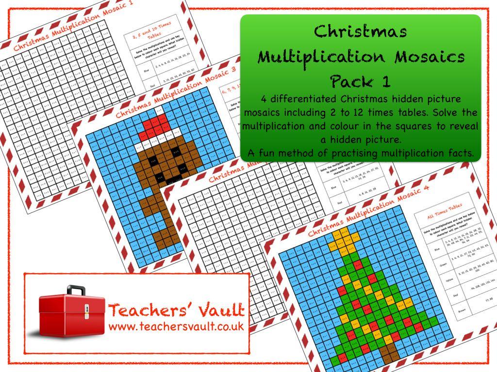 Christmas Multiplication Mosaics Pack 1