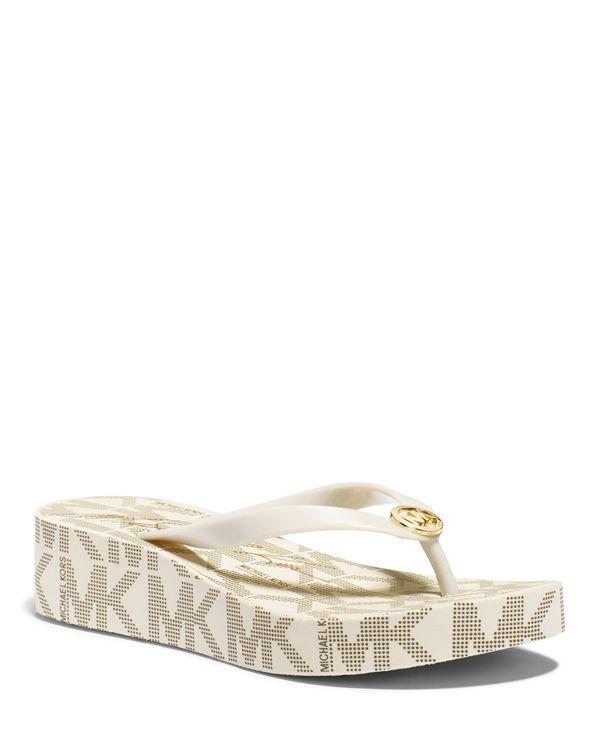 62996bd8b14a Michael Michael Kors Flip Flop Wedge Sandals - Bedford Logo