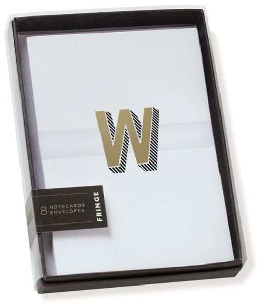 Gold Foil Initial W Boxed Note Cards - Set of 8