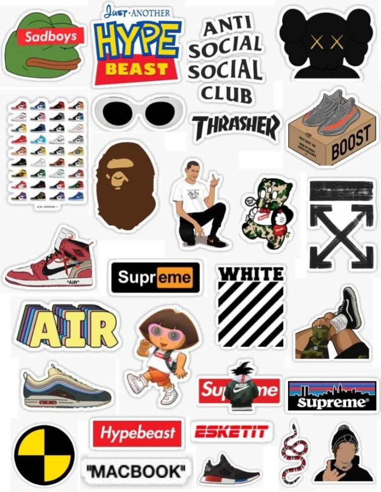 d8042d045faa Hypebeast stickers thrasher supreme sadboys dordans off white gucci clout  macbook air jordans shoes stickers anti