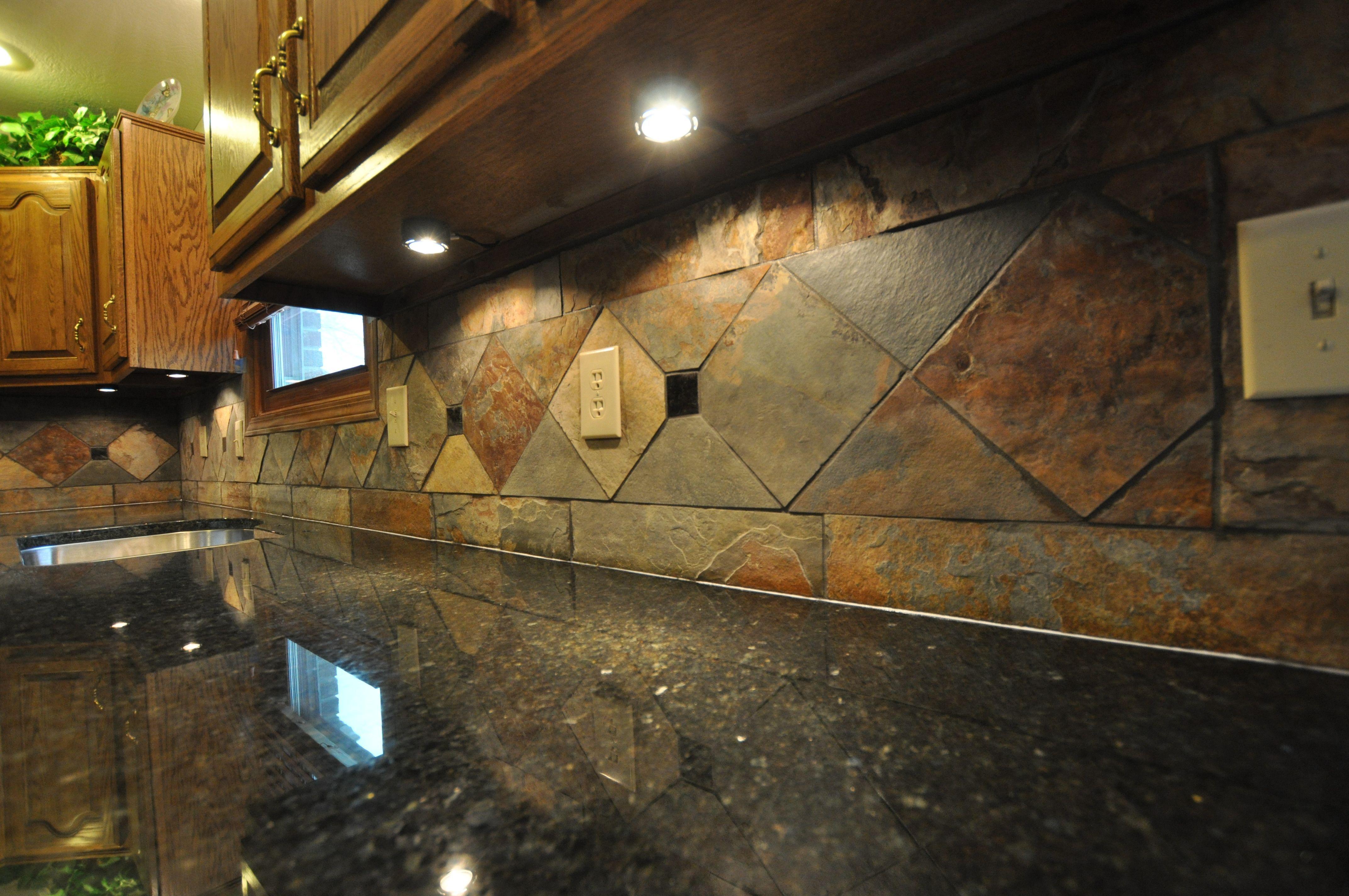 Another Slate Backsplash With Undercounter Lighting Slate Kitchen Slate Backsplash Slate Appliances Kitchen