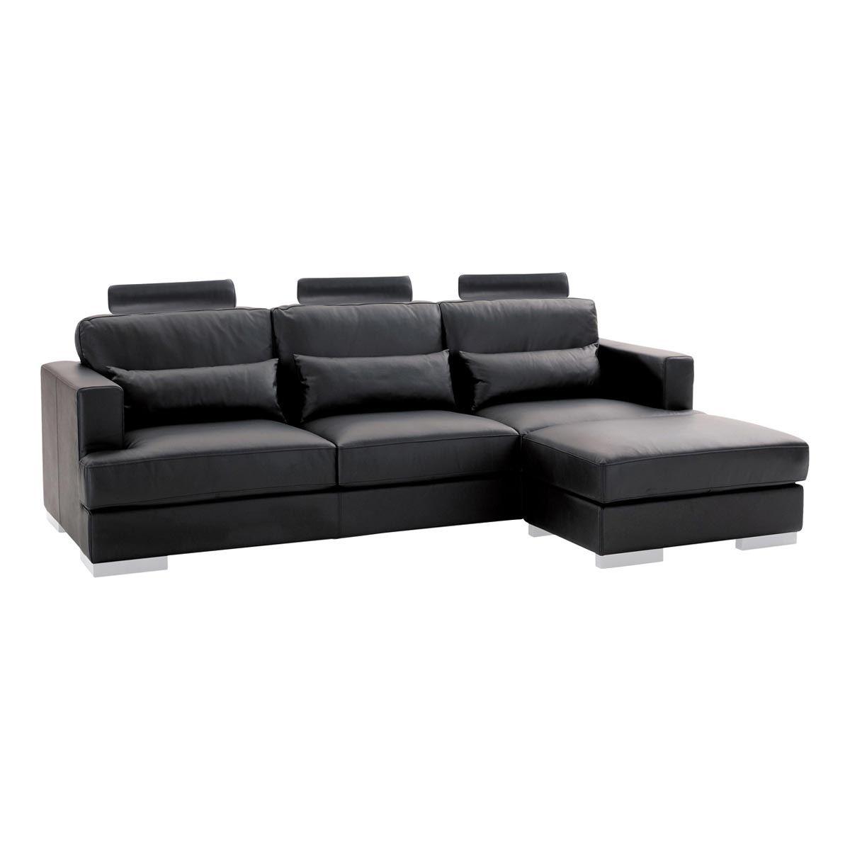 Canapé d angle 5 places fixe cuir noir ORLANDO