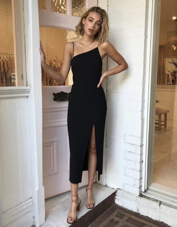 black slit midi dress - #black #dress #fantasy #midi #slit #weddingguestdress