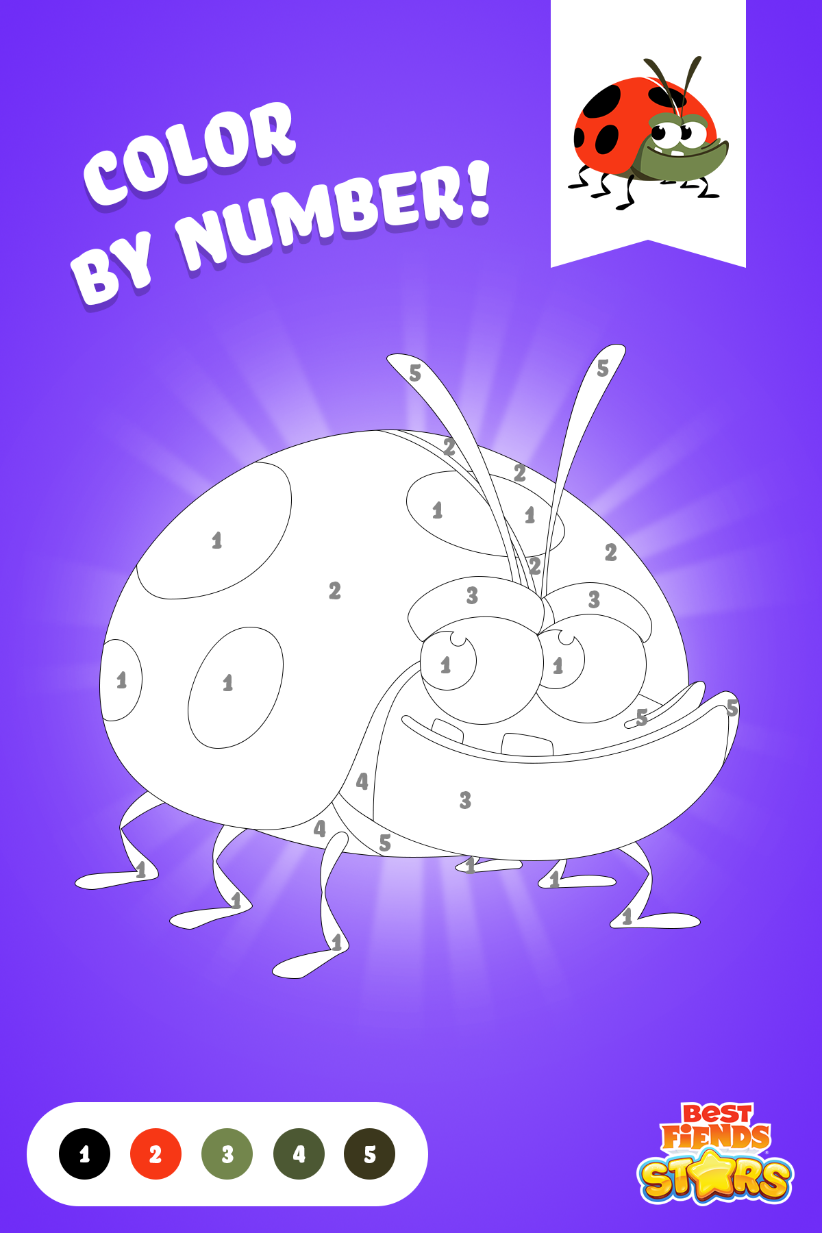We ️ to color by number! Here is Bob to color! BestFiends