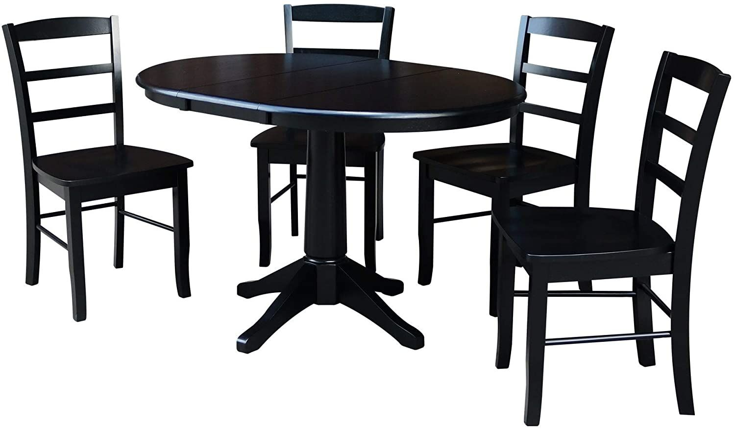 International Concepts 36 Round Extension Dining Table With 4 Madrid Chairs Black Home Kitchen In 2020 Extension Dining Table Luxury Dining Tables Dining Table