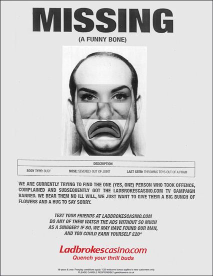 Ladbrokes hits back over ad ban with spoof \u0027missing persons\u0027 poster - make a missing person poster