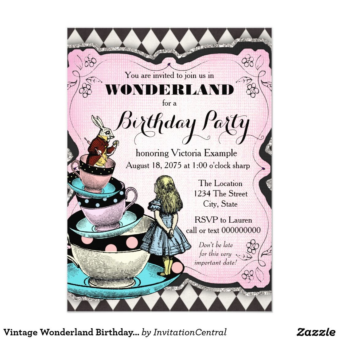 Vintages Märchenland-Geburtstags-Party Karte | Vintage