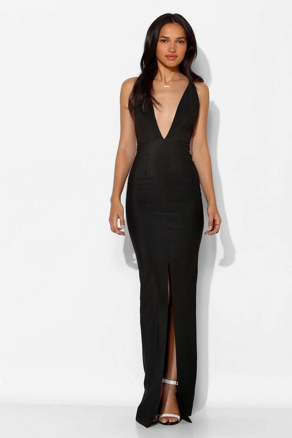 Solace london revelation deep-v maxi dress