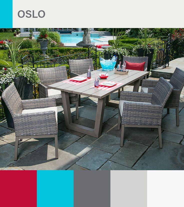 Ensemble A Diner Oslo Table Faite D Aluminium Et Est Muni D Un
