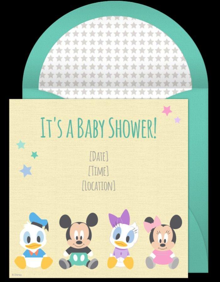 Disney Baby Shower Invitation Sample  Baby Shower
