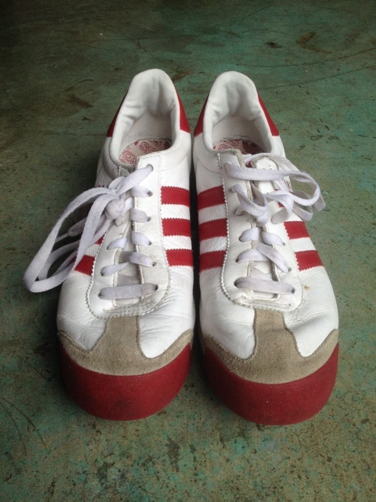 80s ADIDAS white/red leather SAMOA sneakers men 8 track trainer oldschool # Adidas #