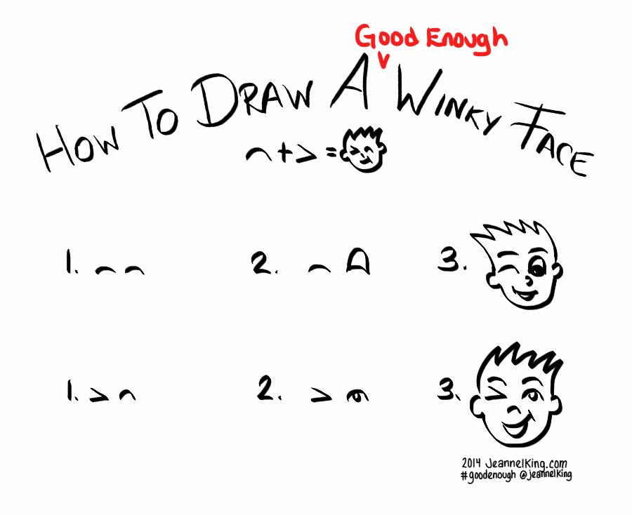 How to draw a winky face