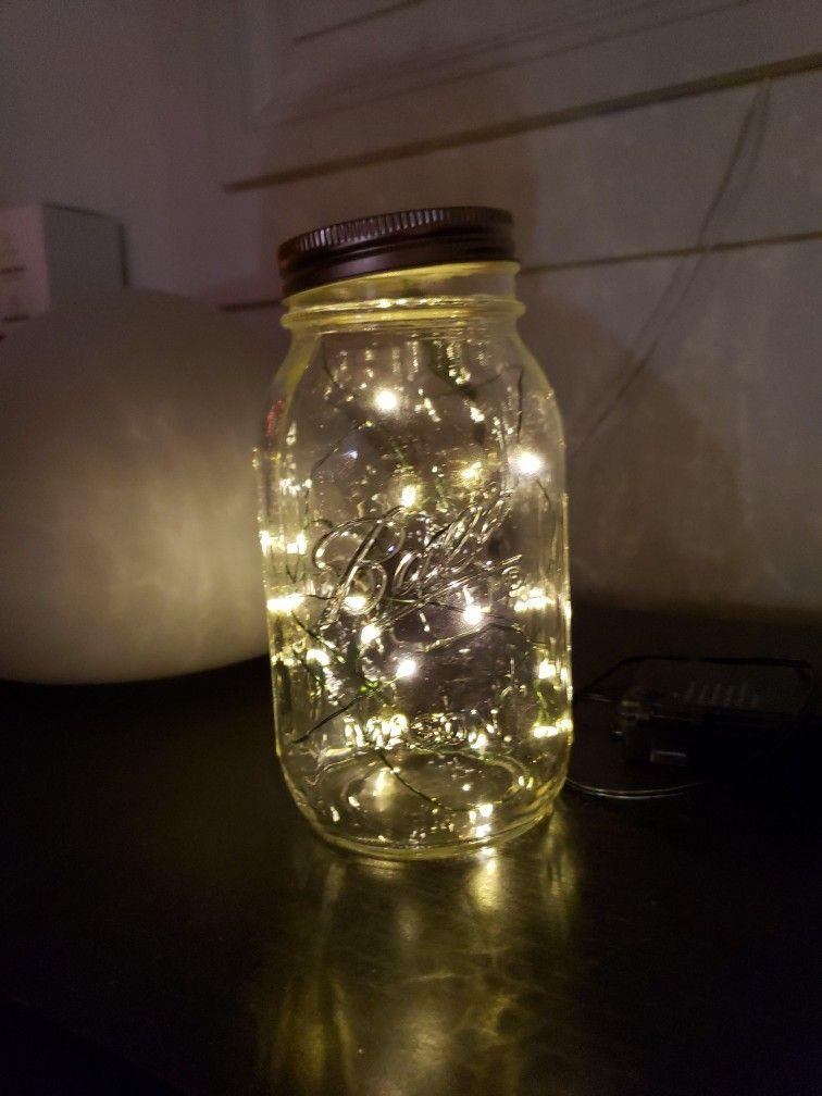 Made My Own With Some Small Lights Mason Jar Lighting Mason Jar Lamp