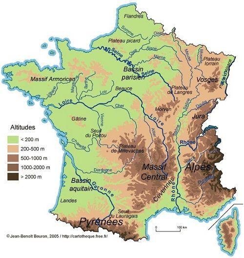 Montagnes de France carte du relief avec l altitude Vosges Jura