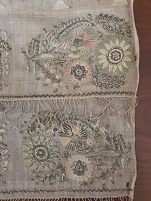 18th C Antique Ottoman Turkish Hand Embroidery On Linen Yalik