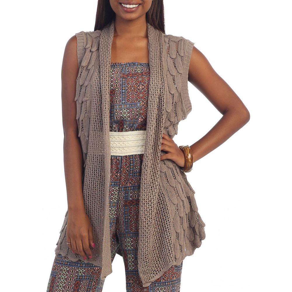 Hadari Women's Brown Knitted Vest Open Cardigan | Overstock ...