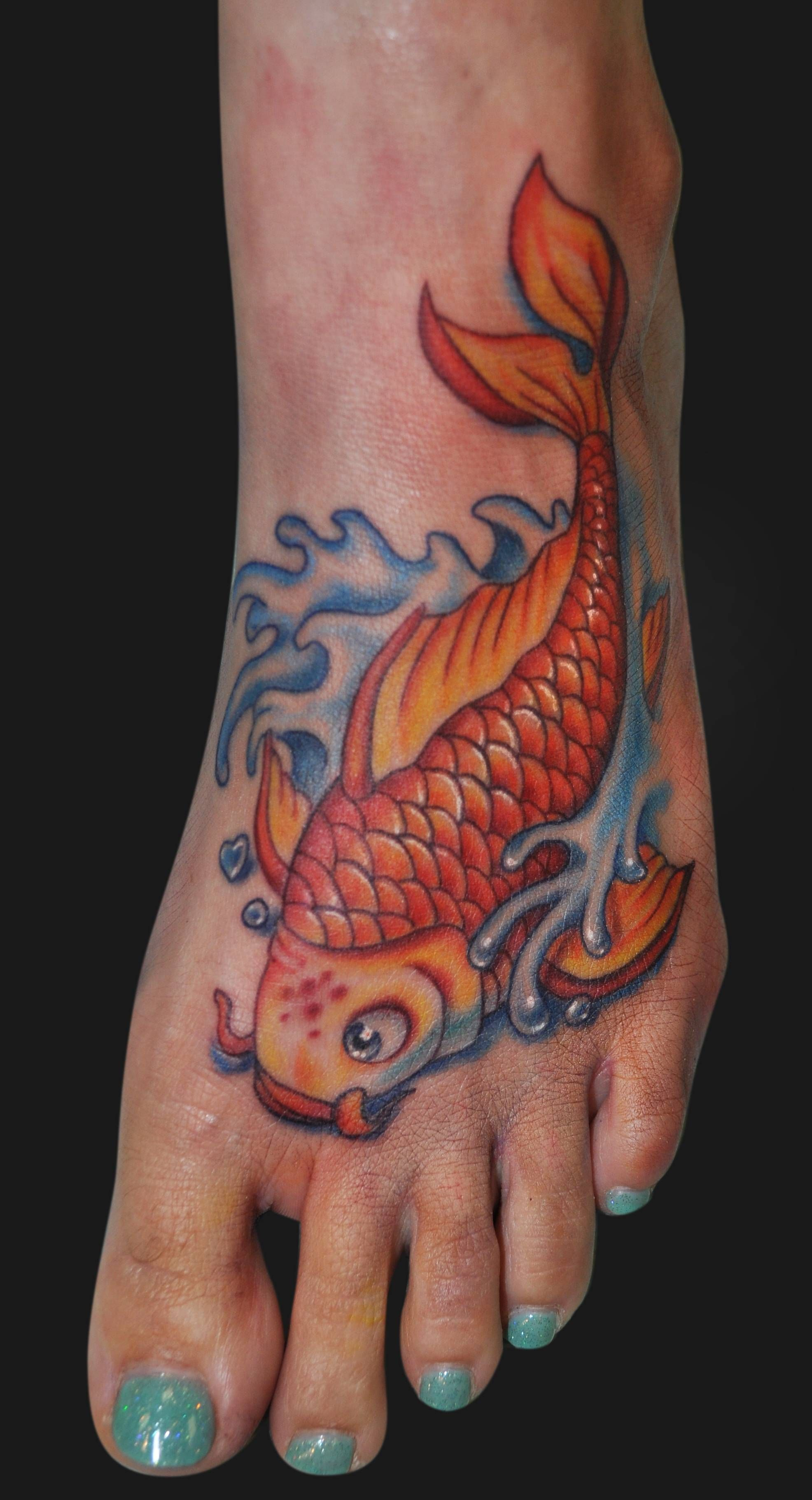 Colorful Koi Fish - Foot Tattoo, Tattoos of the foot or hand are not ...