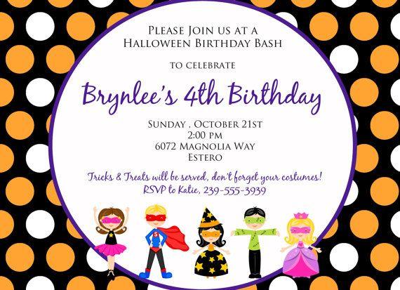 Halloween Kids Birthday Or Costume Party Invitation Kids Birthday Invitation Wording Birthday Halloween Party Birthday Invitation Templates