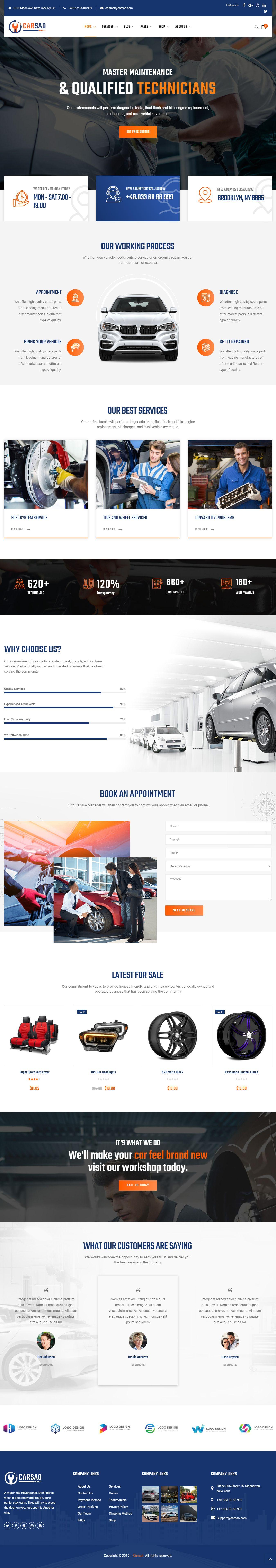 Carsao Responsive Car Service Wordpress Theme Business Wordpress Themes Wordpress Theme Car Dealership