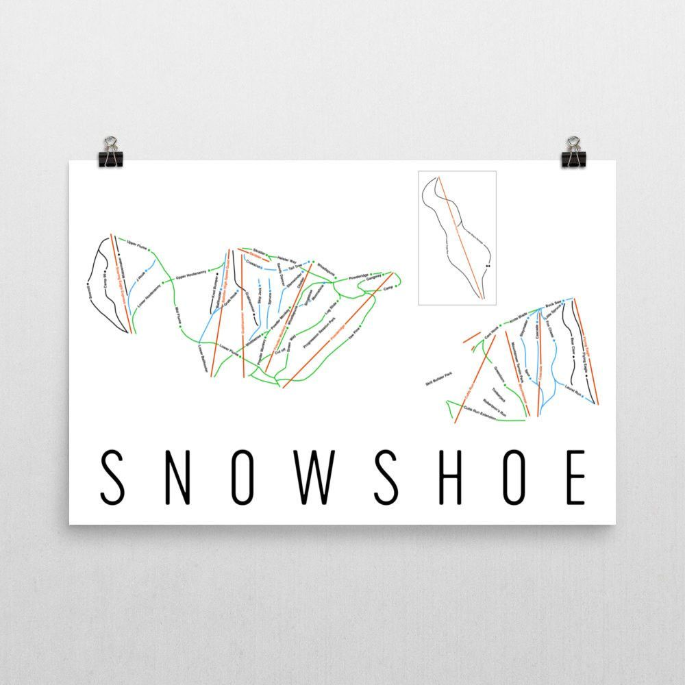 Snowshoe Mountain Ski Map Art, Trail Map, Print, Poster From $39.99 - ModernMapArt