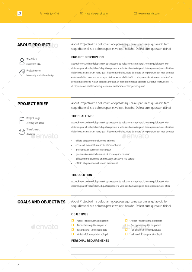 Brief Proposal Template by tontuz | GraphicRiver | Client sites