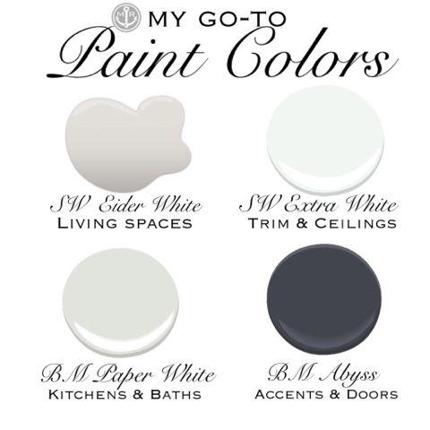 Marcie Reid Designs My 4 Go To Paint Colors Painting Trim White Paint Colors Eider White