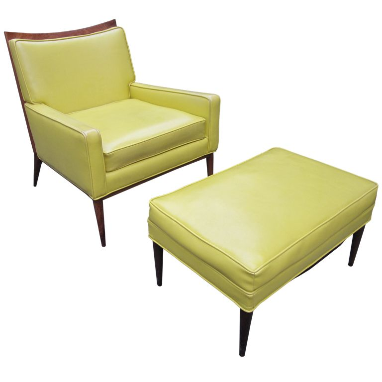 Best Paul Mccobb Yellow Faux Leather Lounge Chair And Ottoman 400 x 300