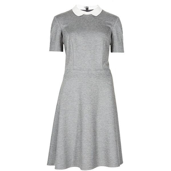 M&S Collection Peter Pan Collar Ponte Skater Dress ($67) ❤ liked on Polyvore featuring dresses, grey, gray evening dress, special occasion dresses, evening dresses, sleeve cocktail dress i flare sleeve dress