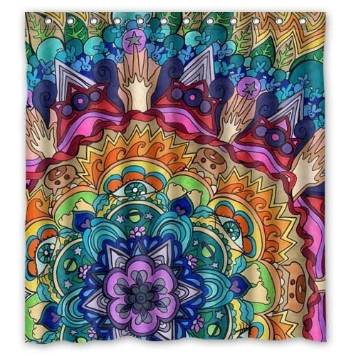 Hippy Trippy Psychedelic Theme Boho Fabric Shower Curtain Fabric Shower Curtains Curtain Decor Shower Curtain Polyester