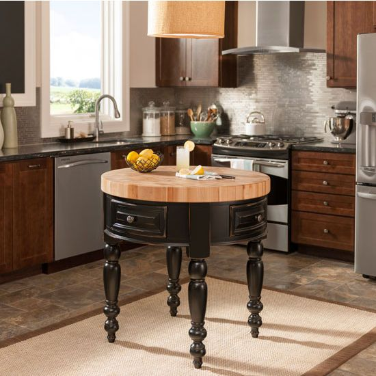Round Kitchen Island jeffrey alexander round petite kitchen island with butcher block