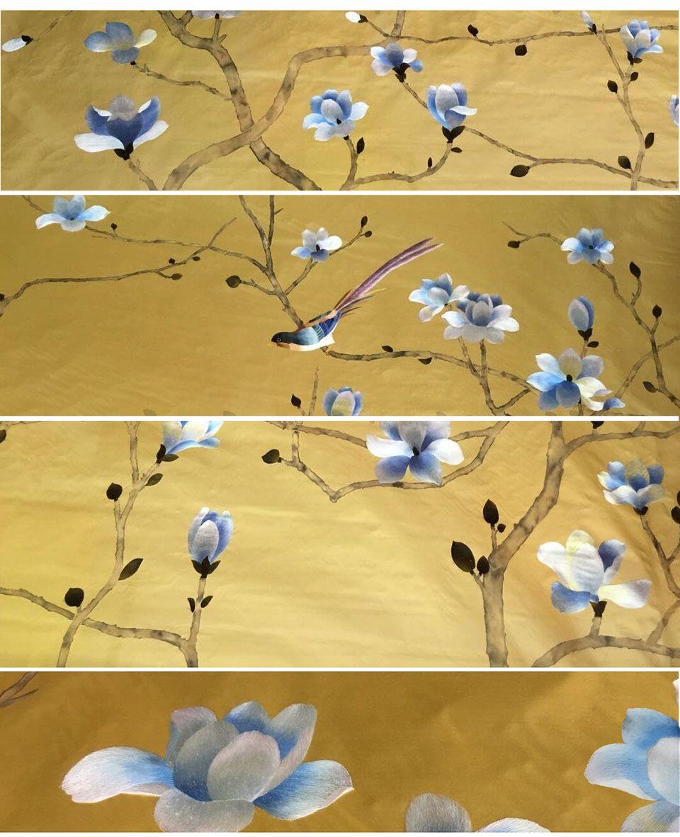 chinese wallpaper :: chinoiserie wallpaper :: silk wallpaper :: hand ...