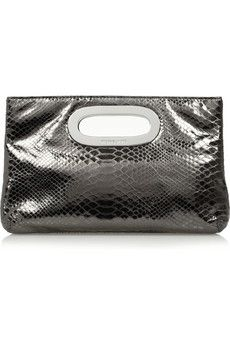 908f4fad43c3 MICHAEL Michael Kors Berkley python-effect metallic leather clutch ...