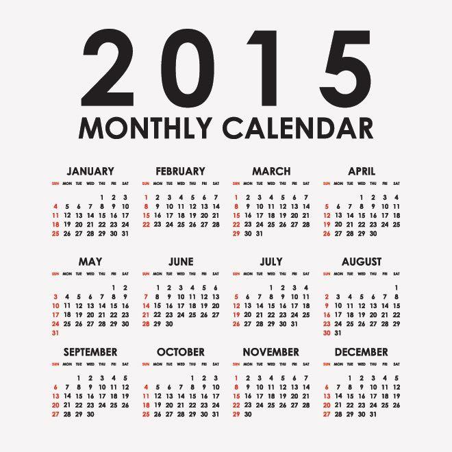 70 Creative Vector 2015 Calendar Template Free Vector Art 2015