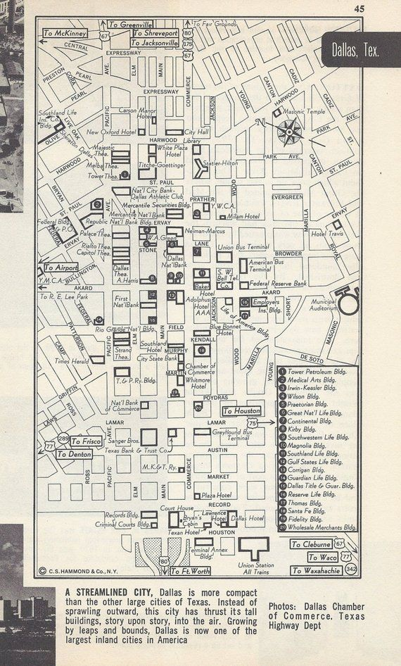 Park Cities Dallas Map.Dallas Texas Map City Map Street Map 1950s Black And White