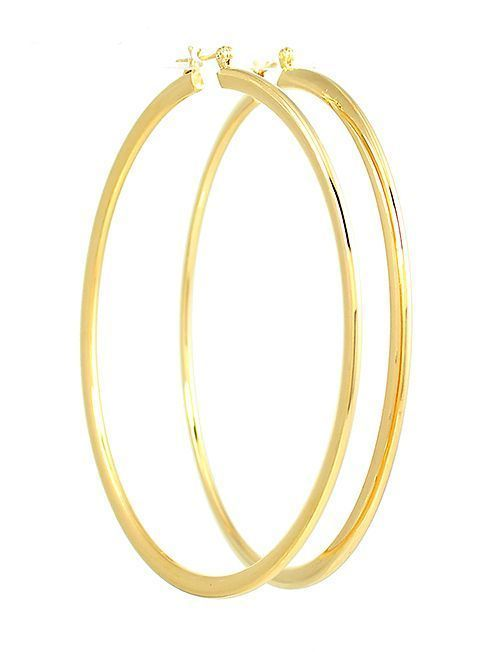 14k Gold Plated Ex Large Hoop Earrings 3 Inches Drop In Jewelry Watches