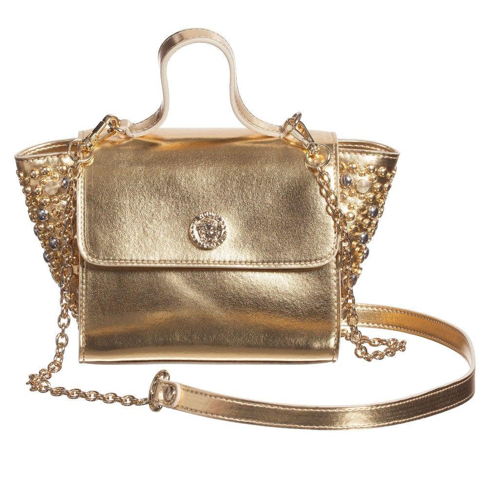 4838cd68fb Young Versace Girls Metallic Gold   Studded  Medusa  Bag (16cm) at  Childrensalon.com