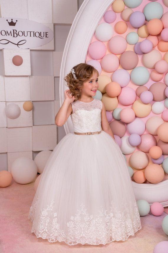 Ivory de encaje vestido de niña de las flores - vacaciones de fiesta ...