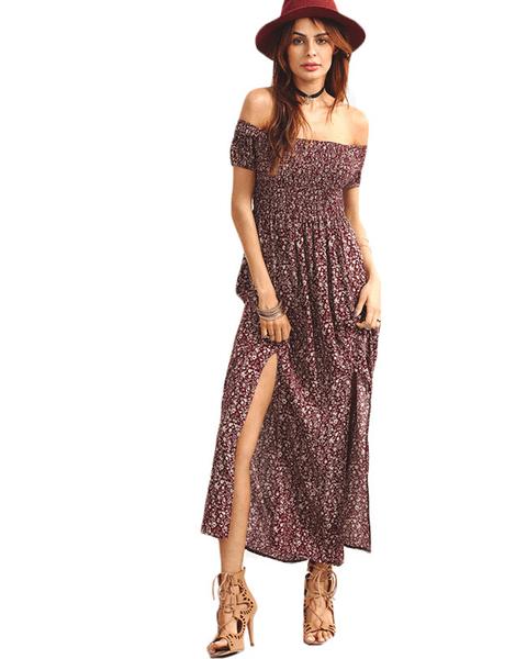 8671026764df Burgundy Shirred Off-Shoulder Dress