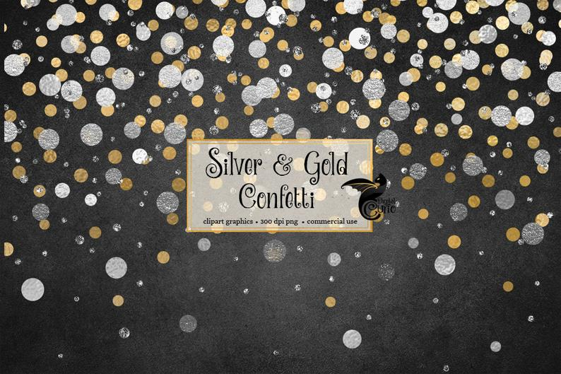 Silver And Gold Confetti Overlays Clipart Gold Foil Silver Etsy Clip Art Overlays Gold Confetti