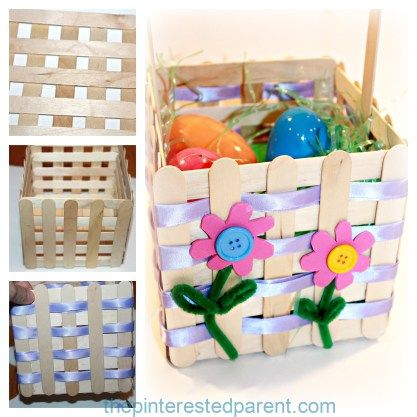 Popsicle Stick Easter Basket Craft A Pretty Project That