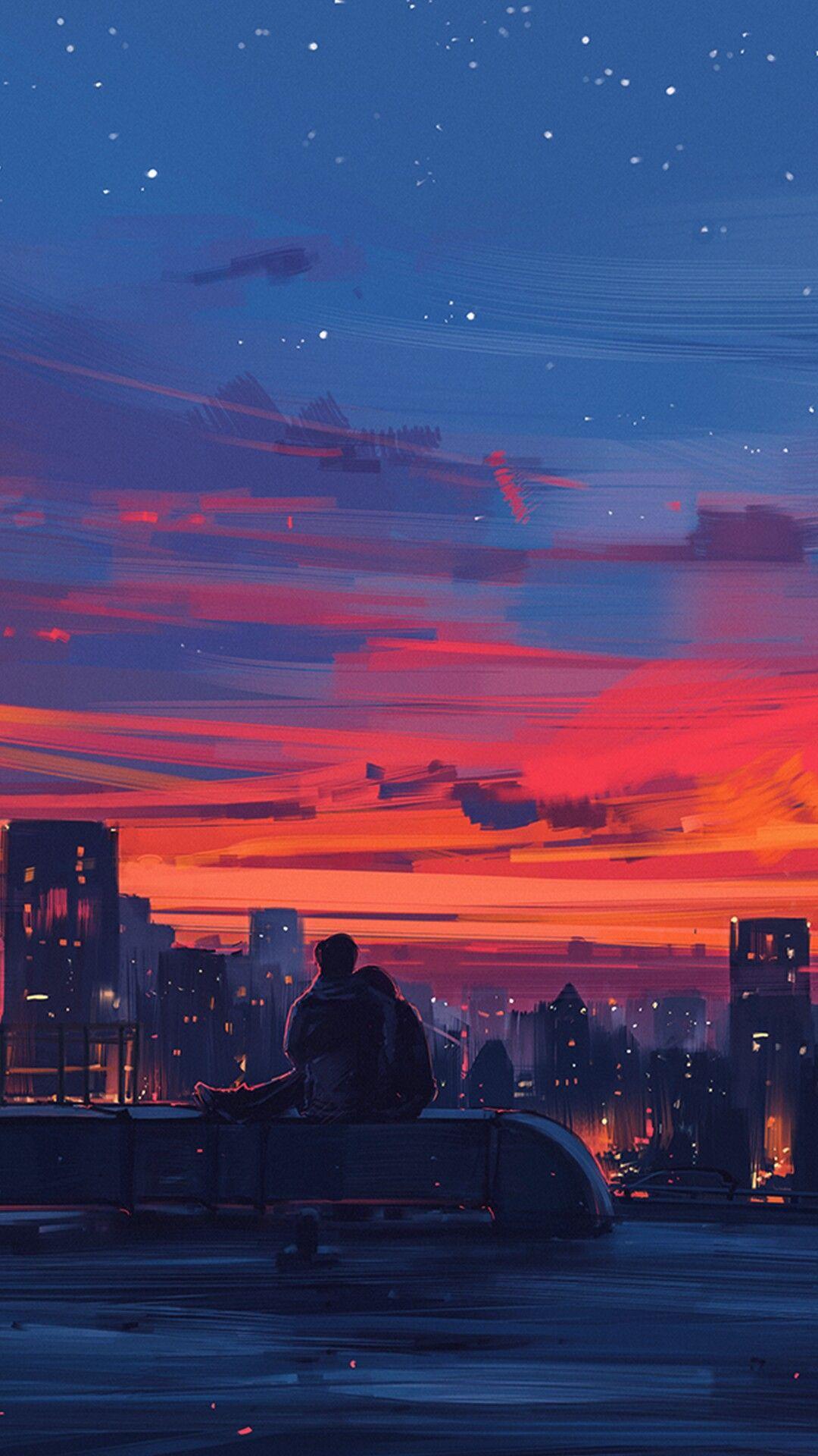 Pin By Cinder On Random Art Scenery Wallpaper Anime Scenery Aesthetic Pastel Wallpaper Hd wallpaper sunset couple street city