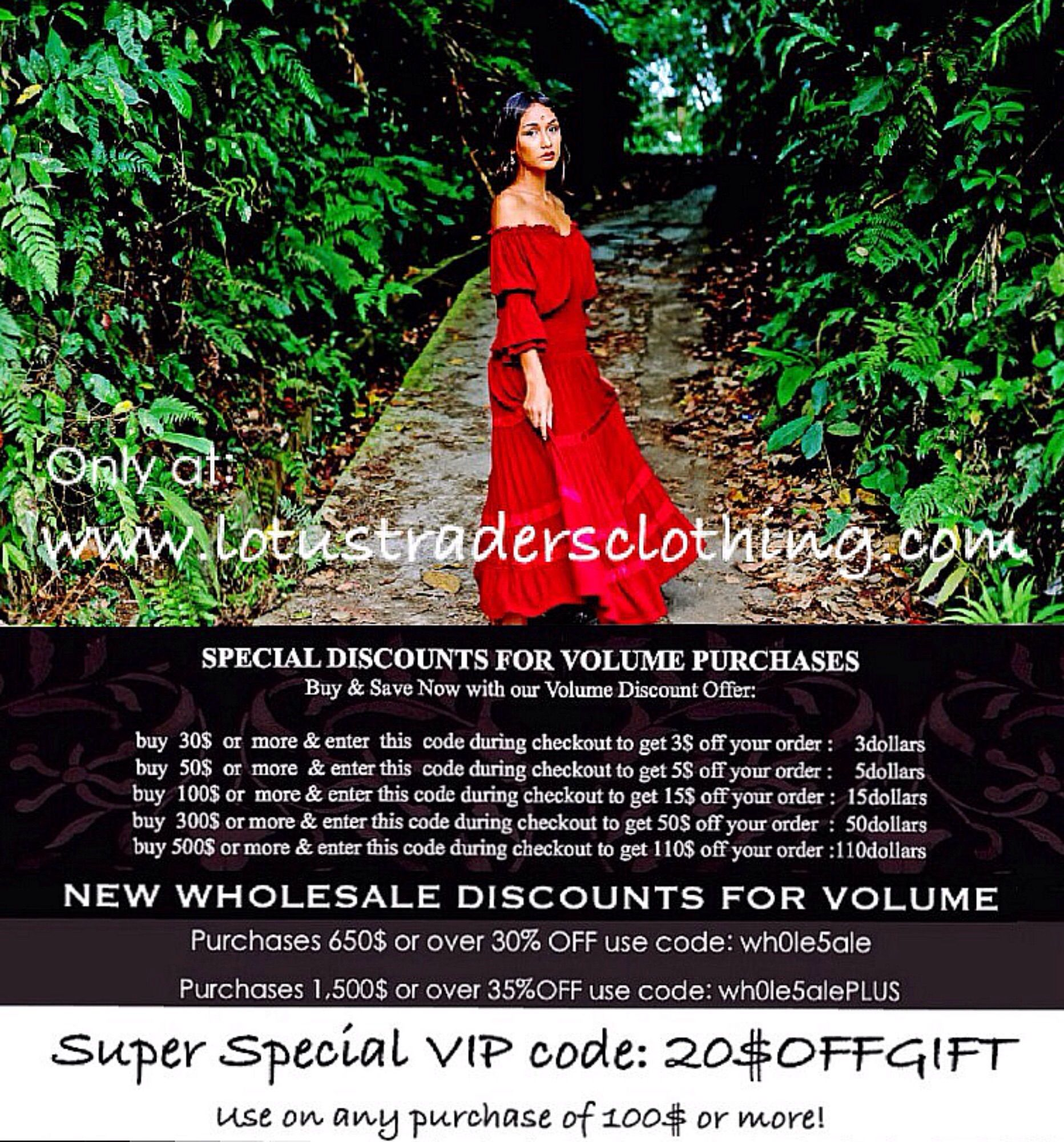 Please contact us with any questions you may have in regards to these #offers and #deals as detailed in this flyer.  ~Lotus Traders Clothing~  #Lagenlook #Boho #Chic #Bali #Batik #Hippie #Gypsy #Stunning #Misses #Plussize #Unique #Womensclothing