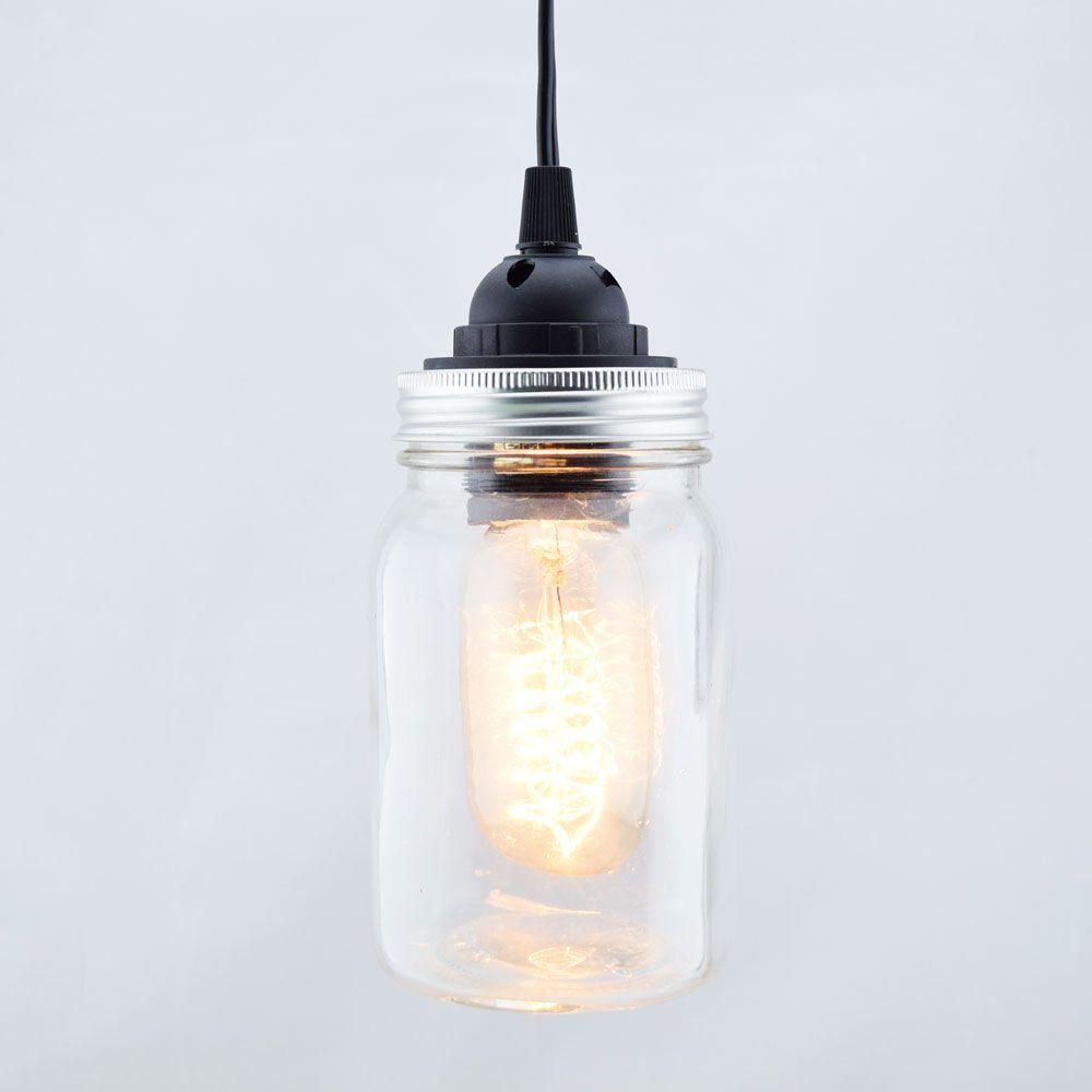 mason jar pendant light kit regular mouth black cord 15ft mason