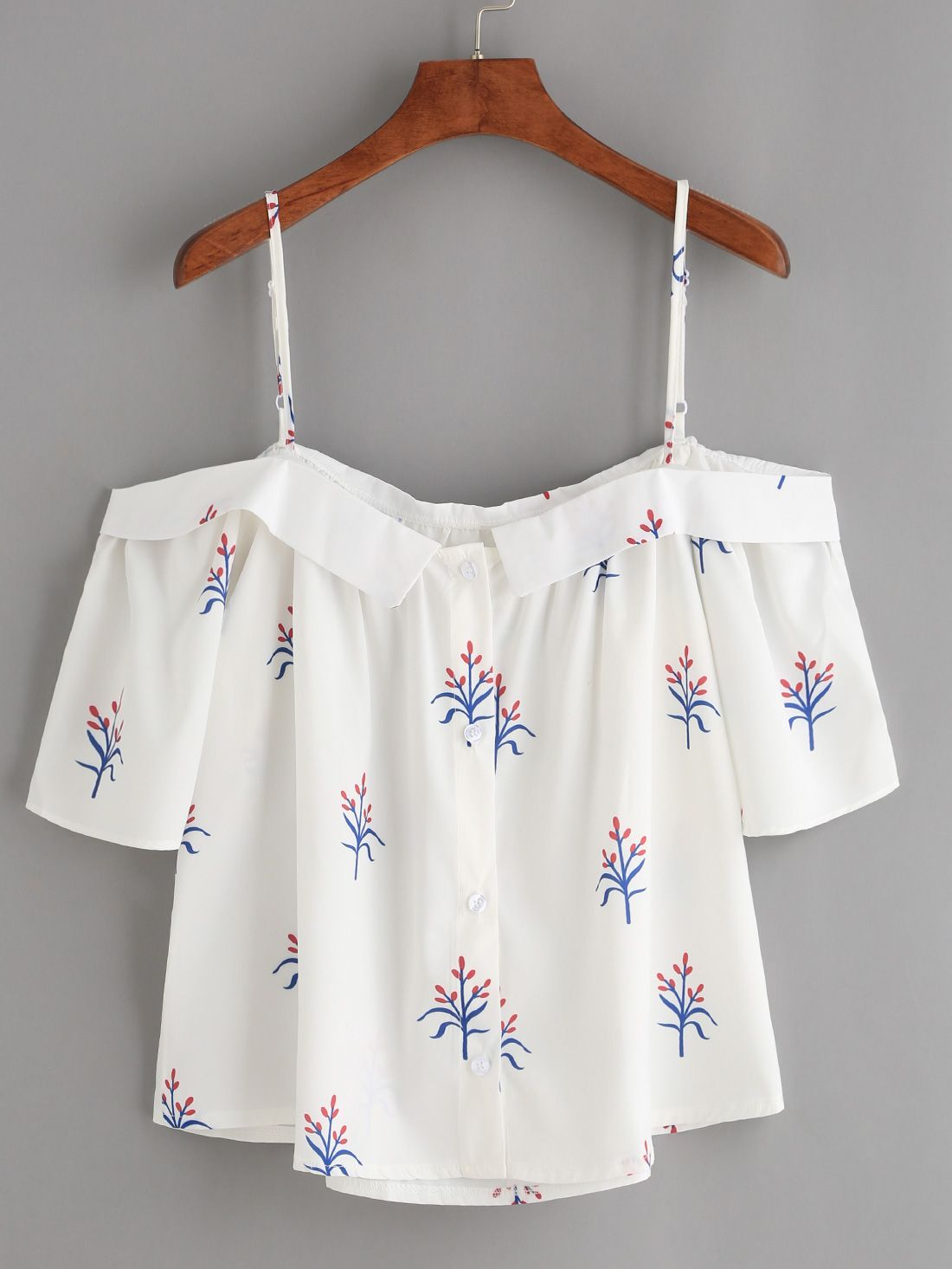 White fold over cold shoulder flower print top f a s h i o n in