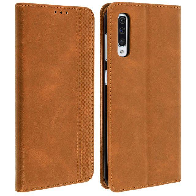 Funda cartera Samsung Galaxy A50, con efecto cuero vintage, F. Soporte - Marrón