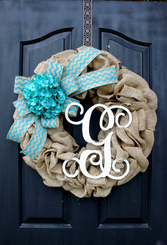 Burlap Wreath -  Wreaths - Summer Wreath for door - Summer Wreath - Home Decor -Gift idea by OurSentiments on Etsy https://www.etsy.com/listing/189512959/burlap-wreath-wreaths-summer-wreath-for