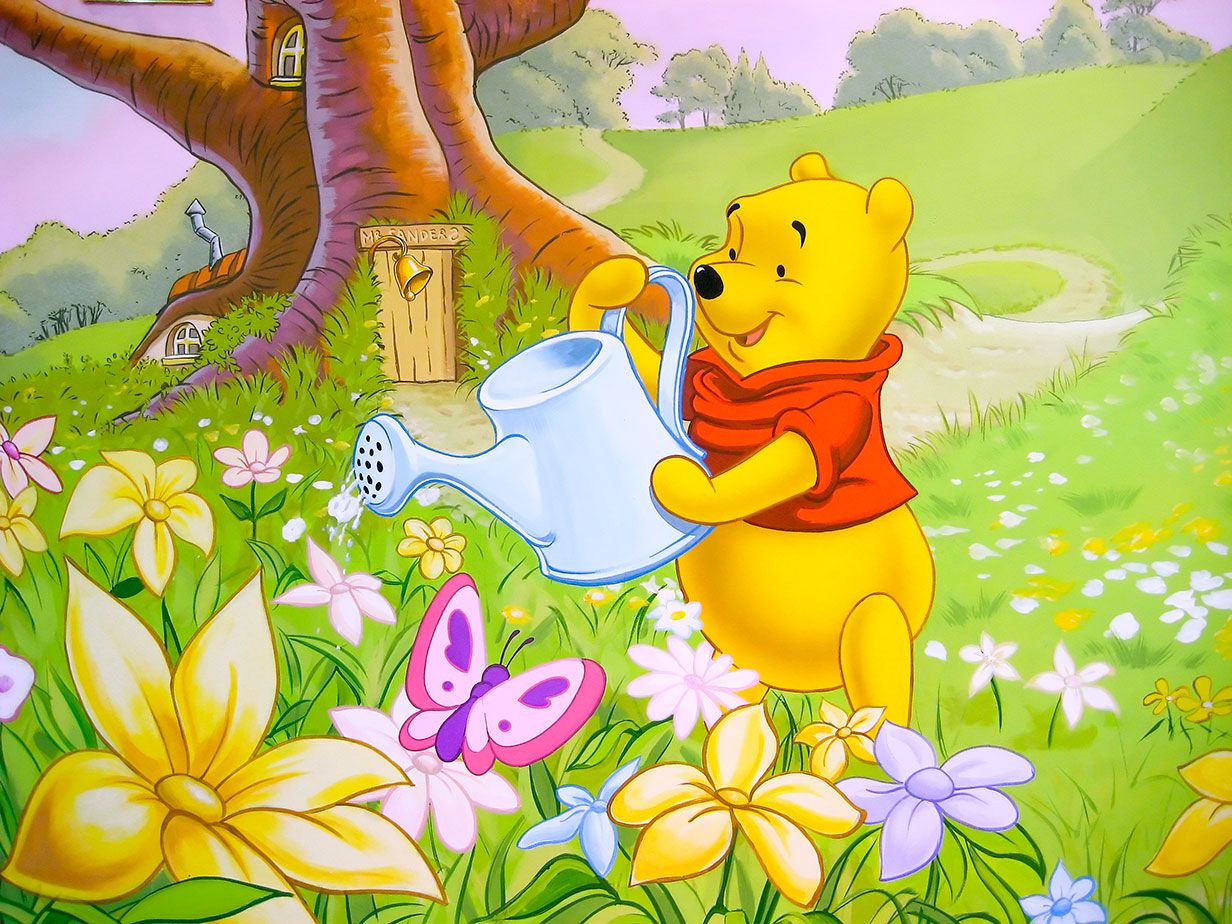 Winnie the Pooh watering the flowers outside his Sanders