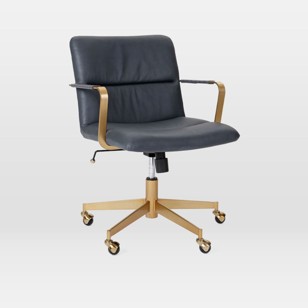 Cooper MidCentury Leather Swivel Office Chair Swivel
