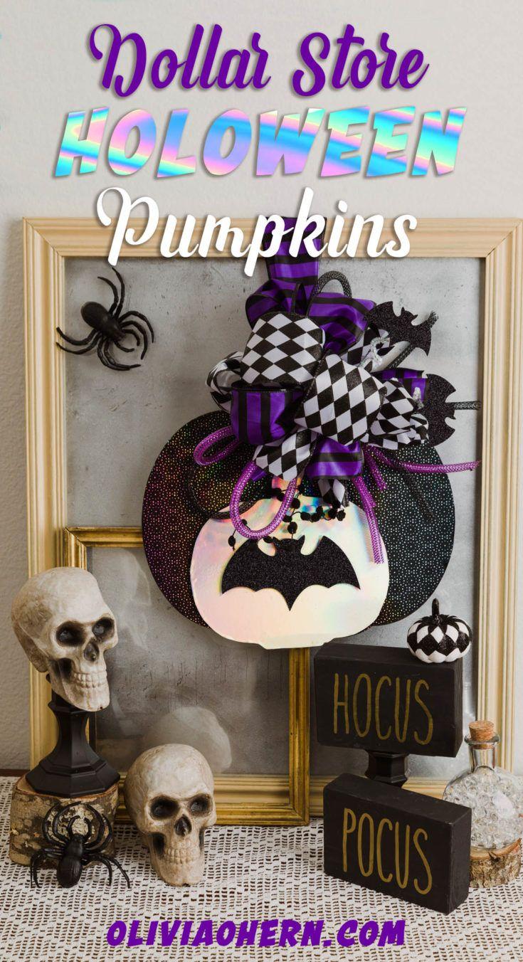 Easy Dollar Store Halloween & Holoween Pumpkin Door Hanger